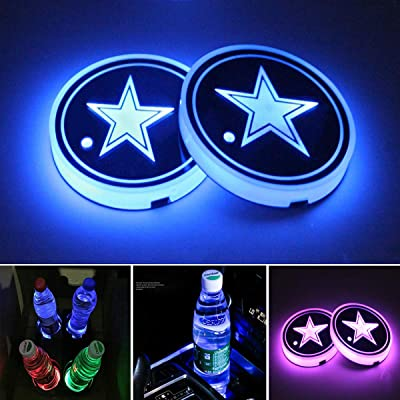 Accarparts LED Cup Holder Lights, Car Coaster with 7 Colors Changing USB Charging Mat, Luminescent Cup Pad Interior Atmosphere Lamp 2PCS: Automotive