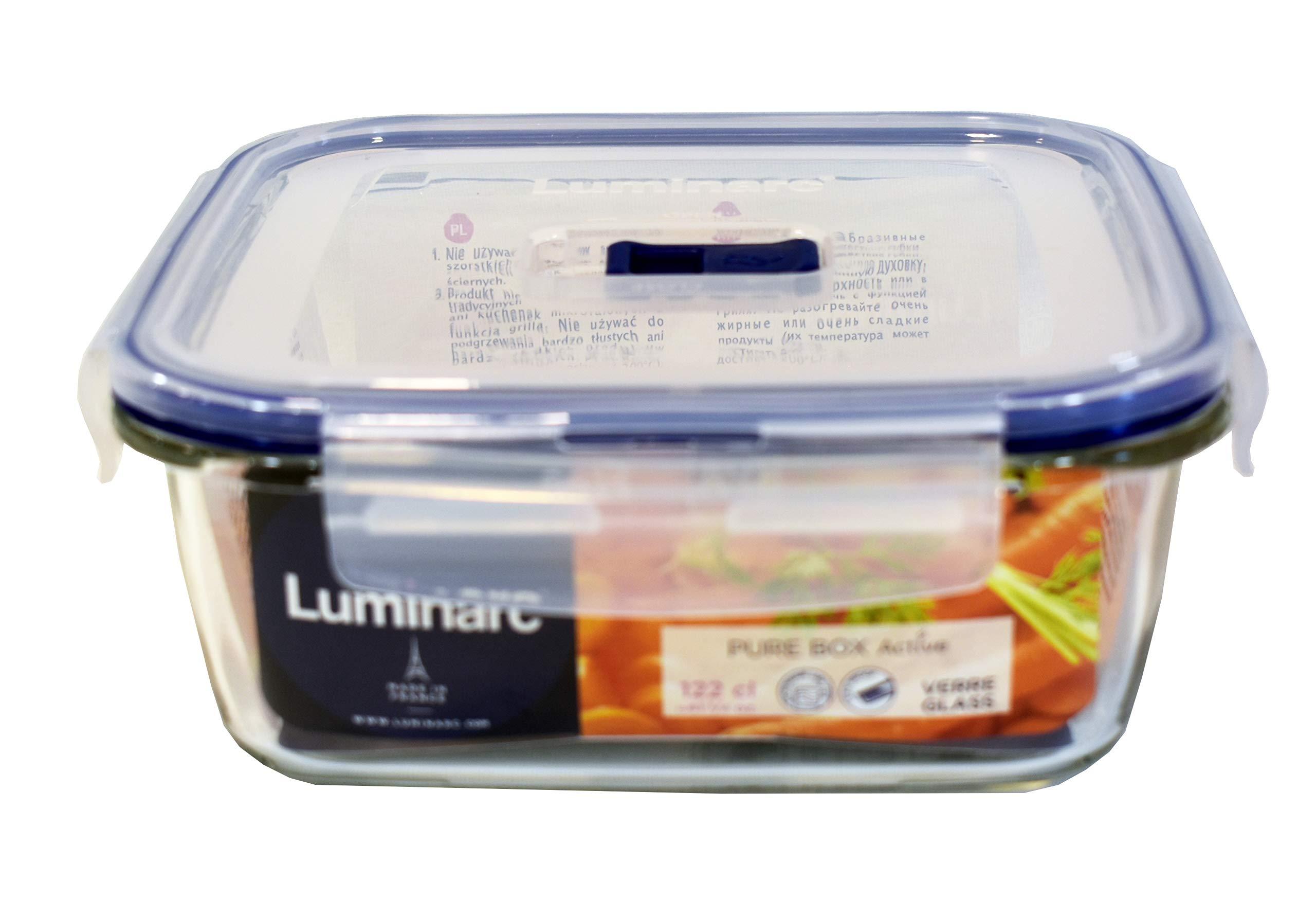 Luminarc Pure Box Active - Recipiente hermético de vidrio, cuadrado, tamaño 1,22