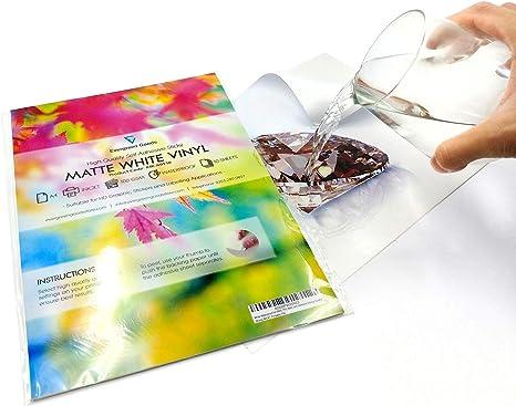 Vinilos adhesivos imprimibles en formato A4, resistentes al agua y adecuados para impresoras láser (20 láminas).: Amazon.es: Hogar
