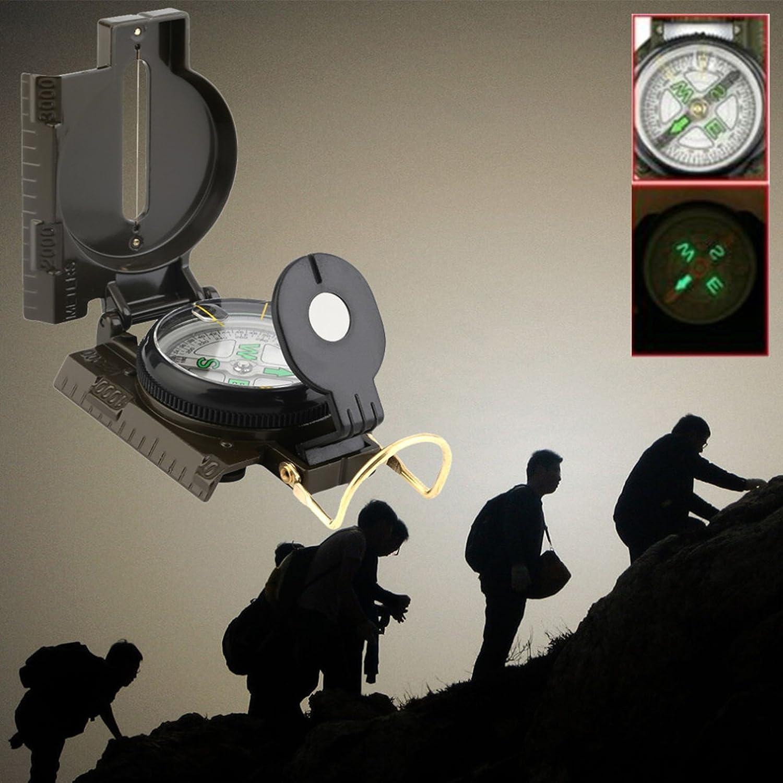 1パックポータブル折りたたみレンズコンパスキーチェーンアメリカ軍サバイバル緊急Life Tactical Best人気アウトドアハイキング防水分度器ホイッスルナイフバックパックジオメトリマップガイドツールキット B079Z5V4WB