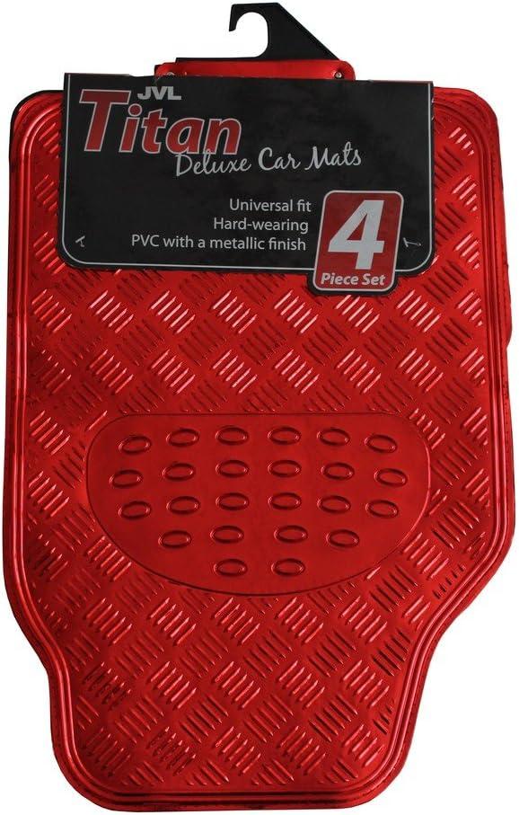 JVL Titan 01-692 Alfombrillas de Goma para Coche con Diseño Metálico, Rojo, 4 Unidades
