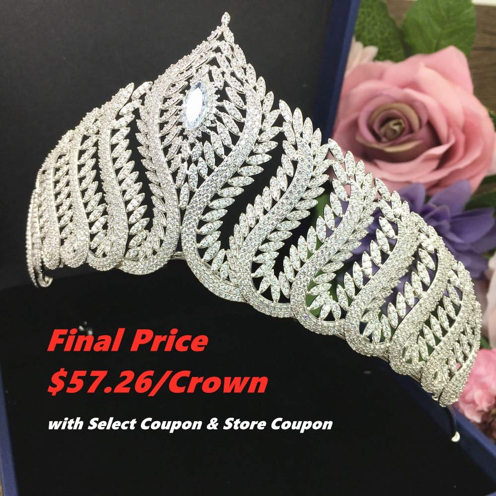 All shiny dress cubic zircon crown tiara diadem zirconium oxide crown luxury wedding hair accessories beautiful delicate bride bridesmaid big crown WIGO1251 CZ crown-c8309
