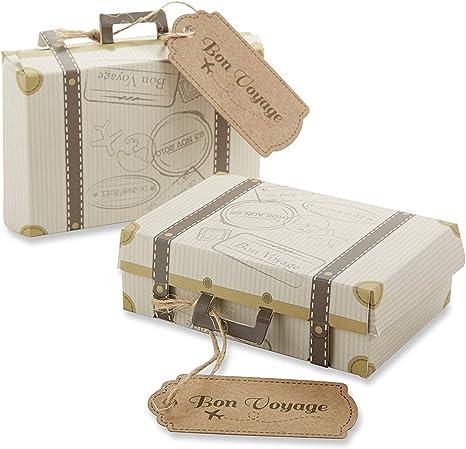 Bon Voyage Vintage Suitcase Destination Bridal Wedding Favor Box Container