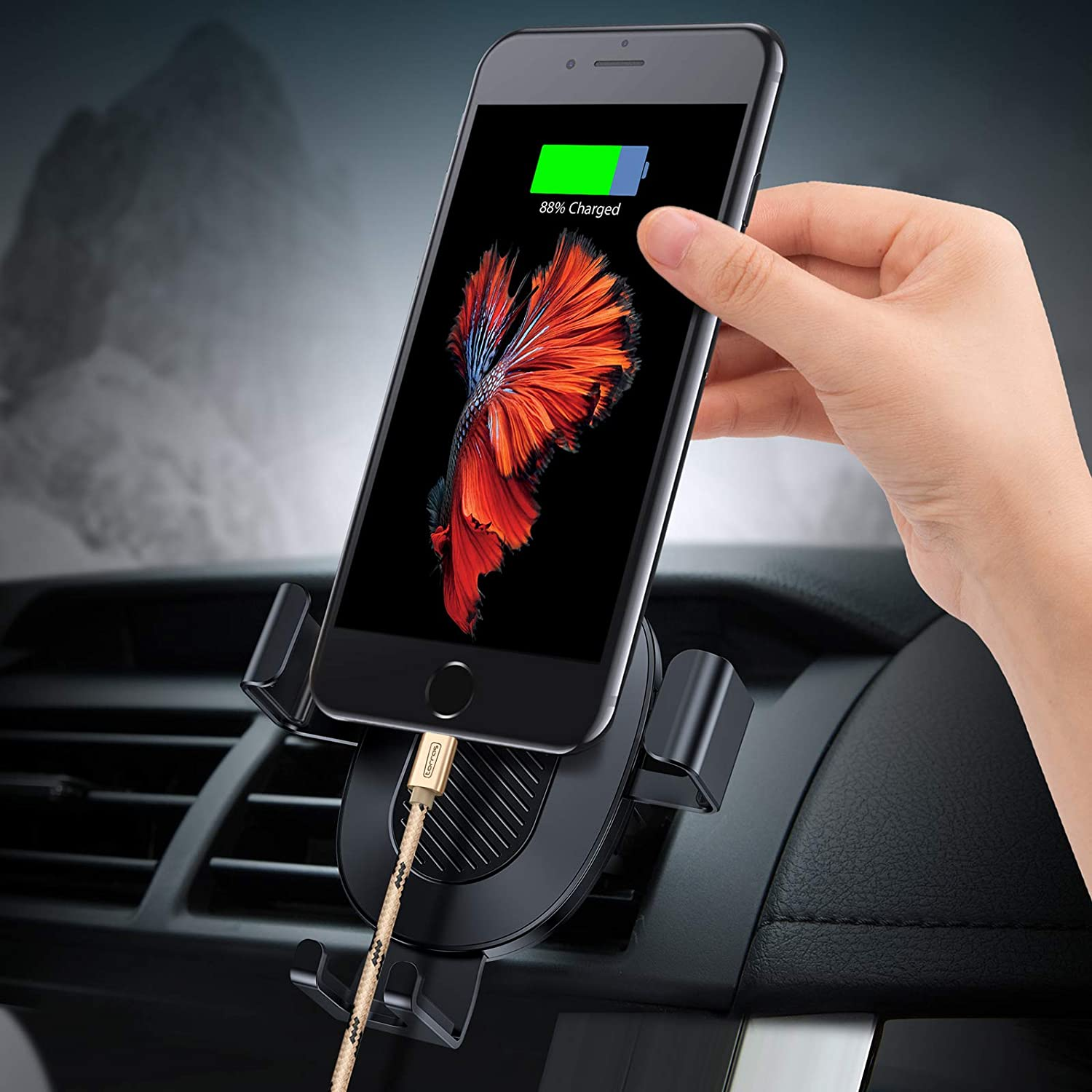 Torras Cell Phone Holder For Car Auto Clamping Air Vent Automotive Outlet Sucker Mount Cradle Compatible Iphone Xs Max Xr X 8 Plus 7
