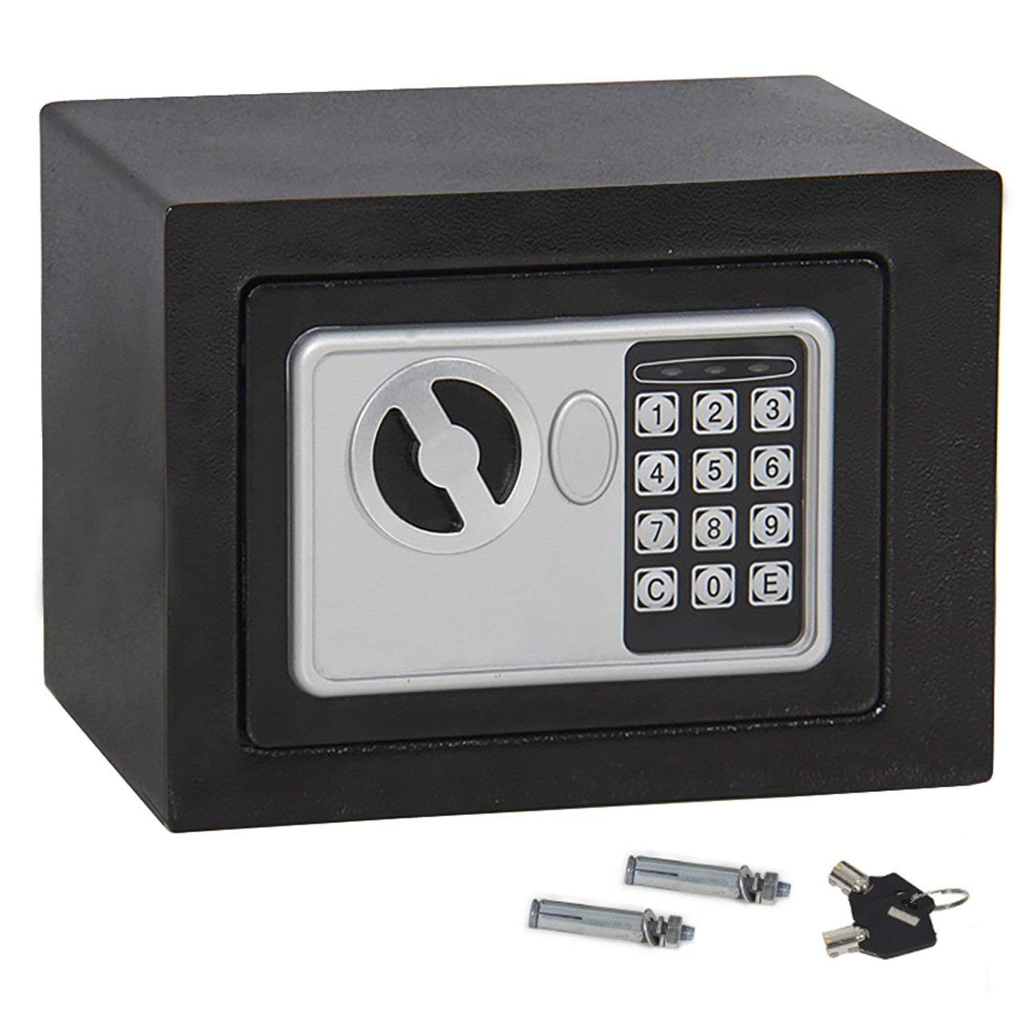 Oteymart Electronic Digital Security Lock Box Wall Cabinet Safe for Gun Jewelry Cash Valuable Home Office Hotel, 0.23 Cubic Feet