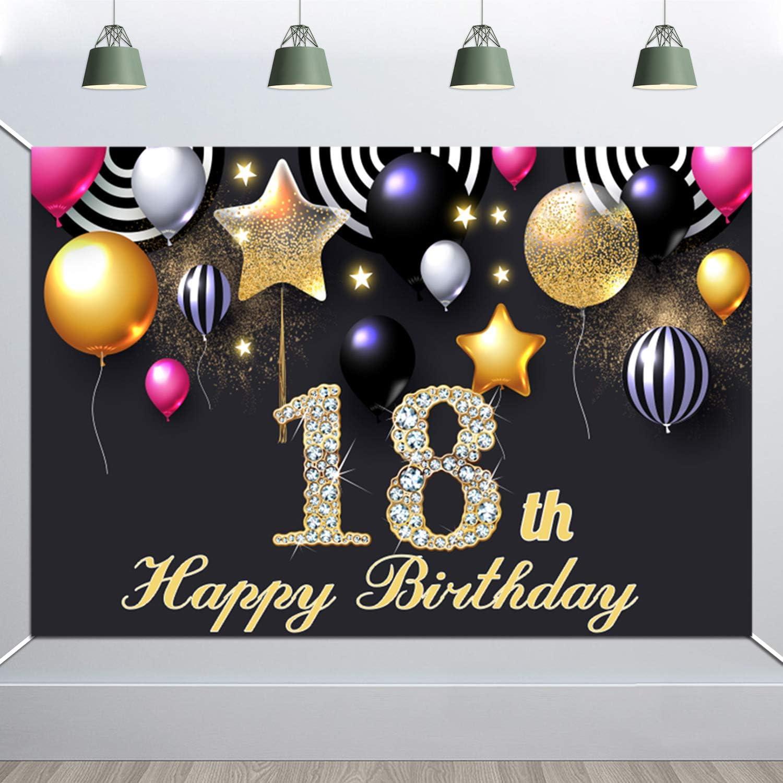 Howaf Extra Große 18 Geburtstag Banner Für Jungen Mädchen 18 Jahre Geburtstag Dekorationen 18 Geburtstag Stoff Zeichen Plakat Photo Booth Hintergrund Für 18 Geburtstagsdeko 5 9 3 9 Füße Spielzeug