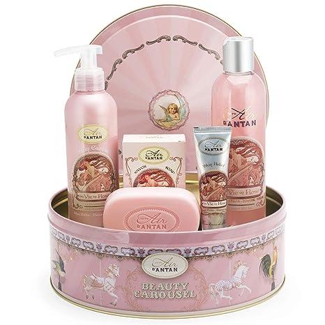 Un Air dAntan® Caja Belleza Rose Mujer, 1 Jabon 100g, 1 Gel Ducha 250ml,1 Crema Corporal 200ml,1 Crema de Manos 25ml |Perfume Melocotón, Rosa, ...