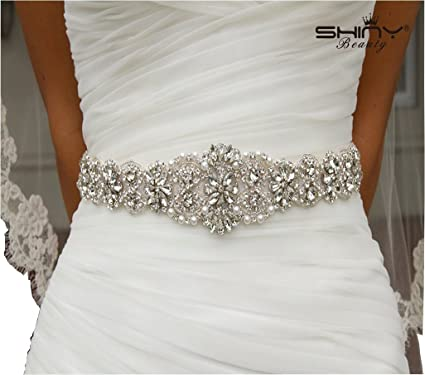 Shinybeauty Rhinestone Applique Belt Wedding Sash Ivory And Bridal