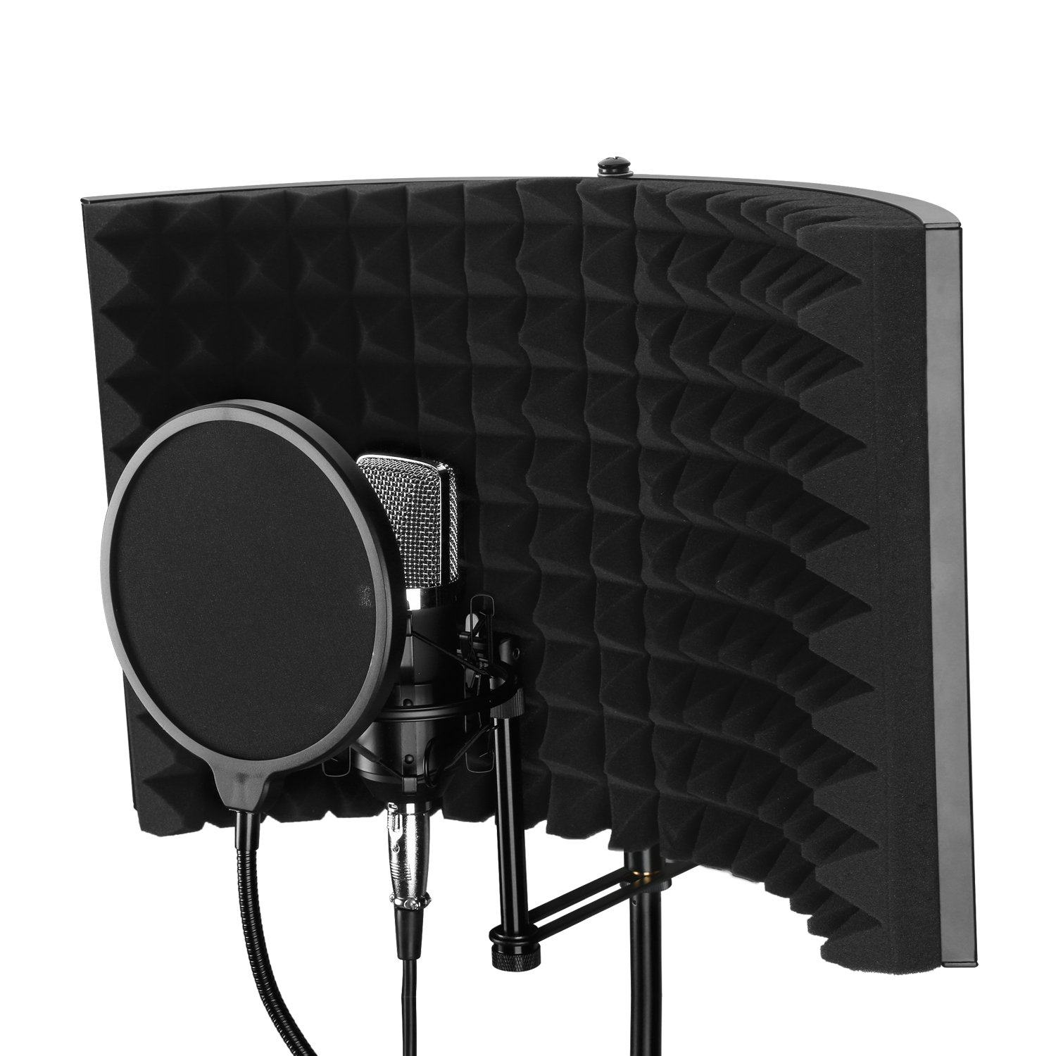 Aokeo Premium Microphone Isolation Shield, Foldable Adjustable Studio Recording Microphone Isolator Panel, Constructed with Industrial Quality Aluminum, High-Density Absorbing Foam Cotton (AO-302)