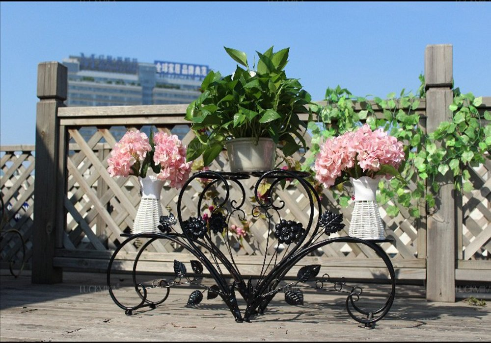 (Picture of the flower frame by the combination of two small flower frame) European-style combination of flower frame / plant rack ( Color : Black )