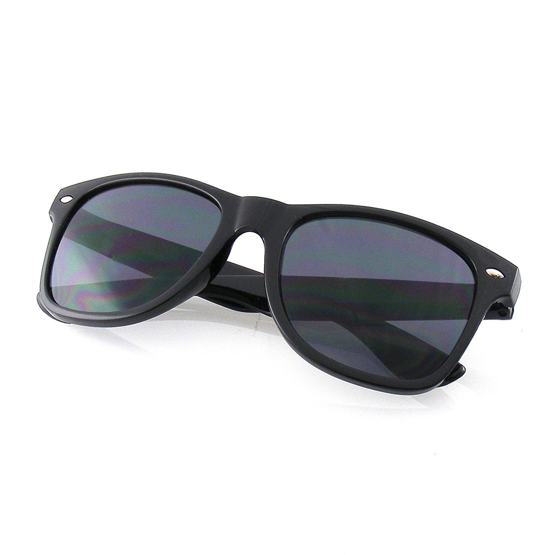 G8iWear Unisex Black Horned Rim Thick Frame Plastic Mirrored Lenses Sunglasses