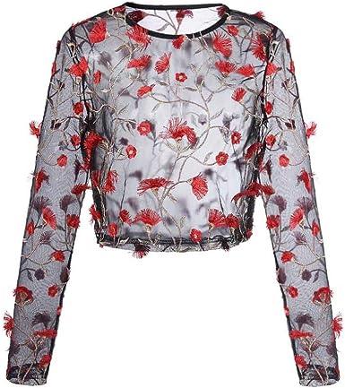 OverDose Mujer Camiseta Atractiva Bordado de Malla Perspectiva topas: Amazon.es: Ropa y accesorios