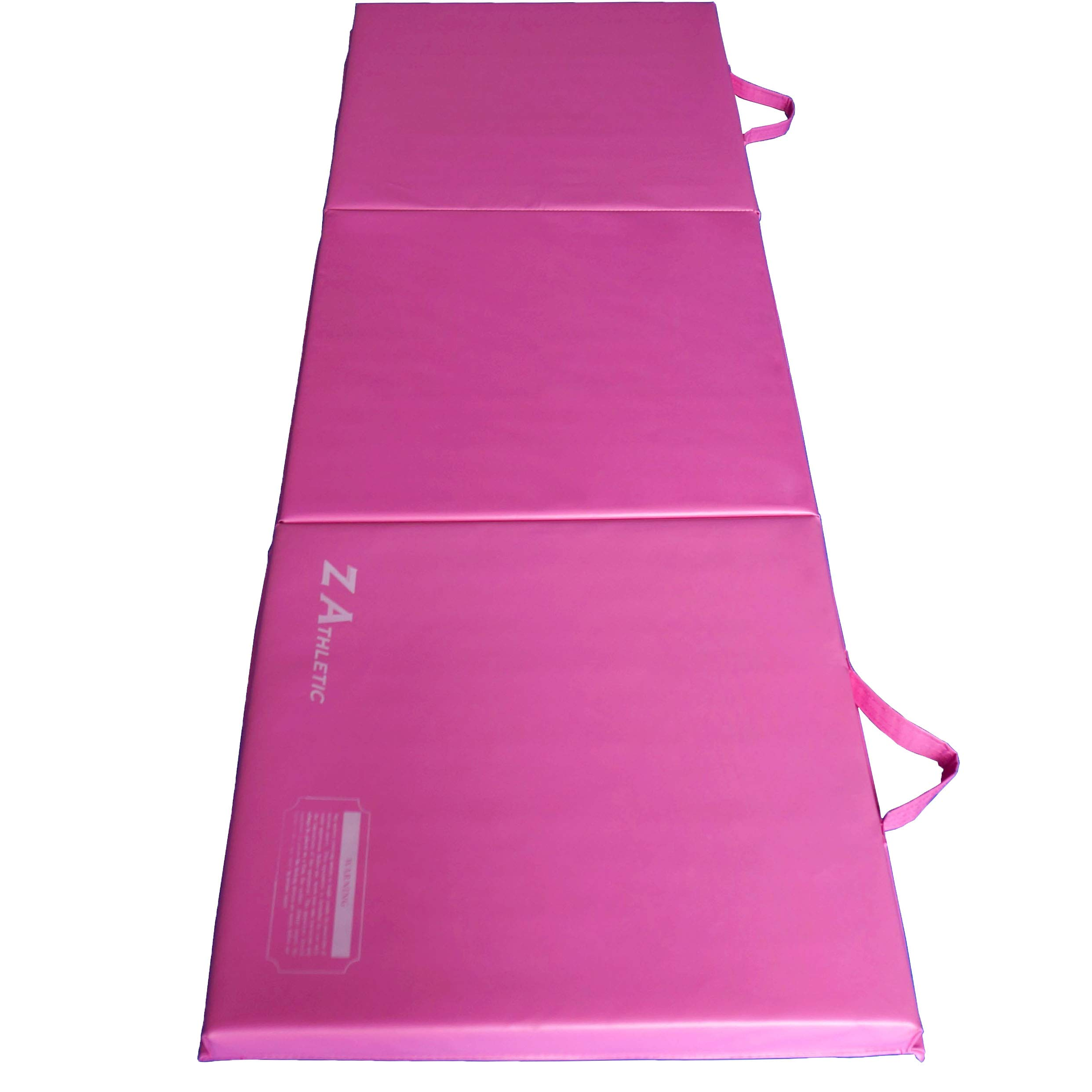 Z-Athletic Folding Panel Mats for Gymnastics, Yoga, Martial Arts, & Tumbling (2ft x 6ft x 2in, Pink)