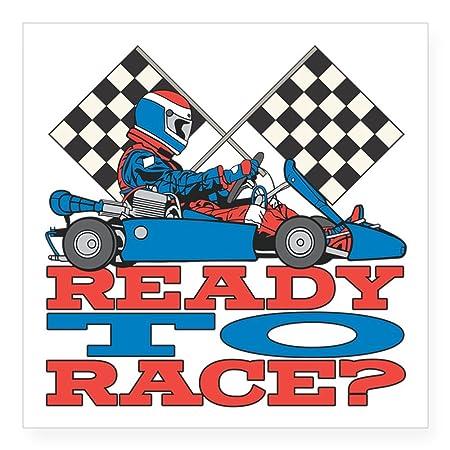 Cafepress Ready To Race Go Kart Quadratisch Aufkleber 3 X 3