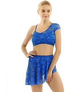 iixpin Robe de Patinage Artistique Manches Longues Justaucorps Danse Ballet Latine Salsa Salon Dancewear en Dentelle Robe de Gynastique Yoga Sportwear pour Adulte XS-XL