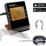 Grill Thermometer,Morpilot Bluetooth Wireless Digital Cooking Food Meat Smoker Grill BBQ Thermometer w/ 5 Upgraded Probes/ 1 Stainless Steel Probes/ 1 Ambient Clip 6 Channel iPhone & Android Phone App