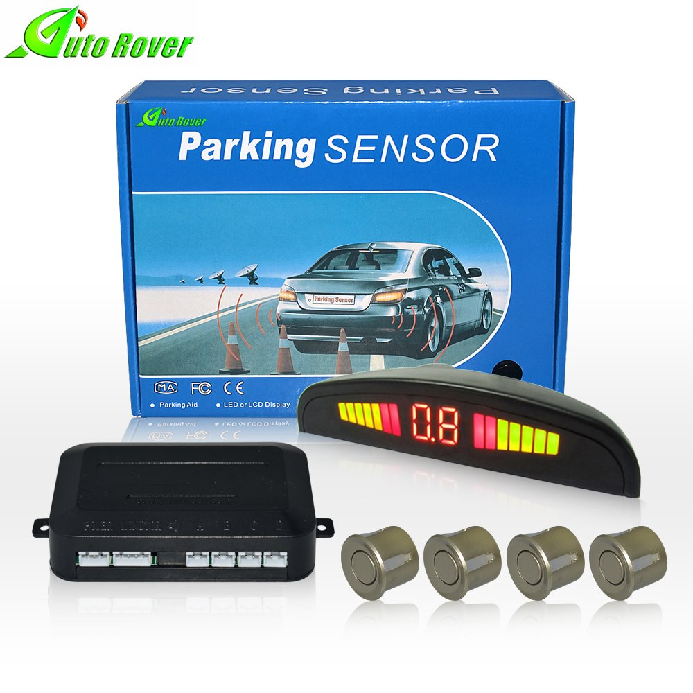 Auto Rover LED Display Universal Car Reverse Backup Radar System Parking Sensors Kit With 4 Sensor(Black)