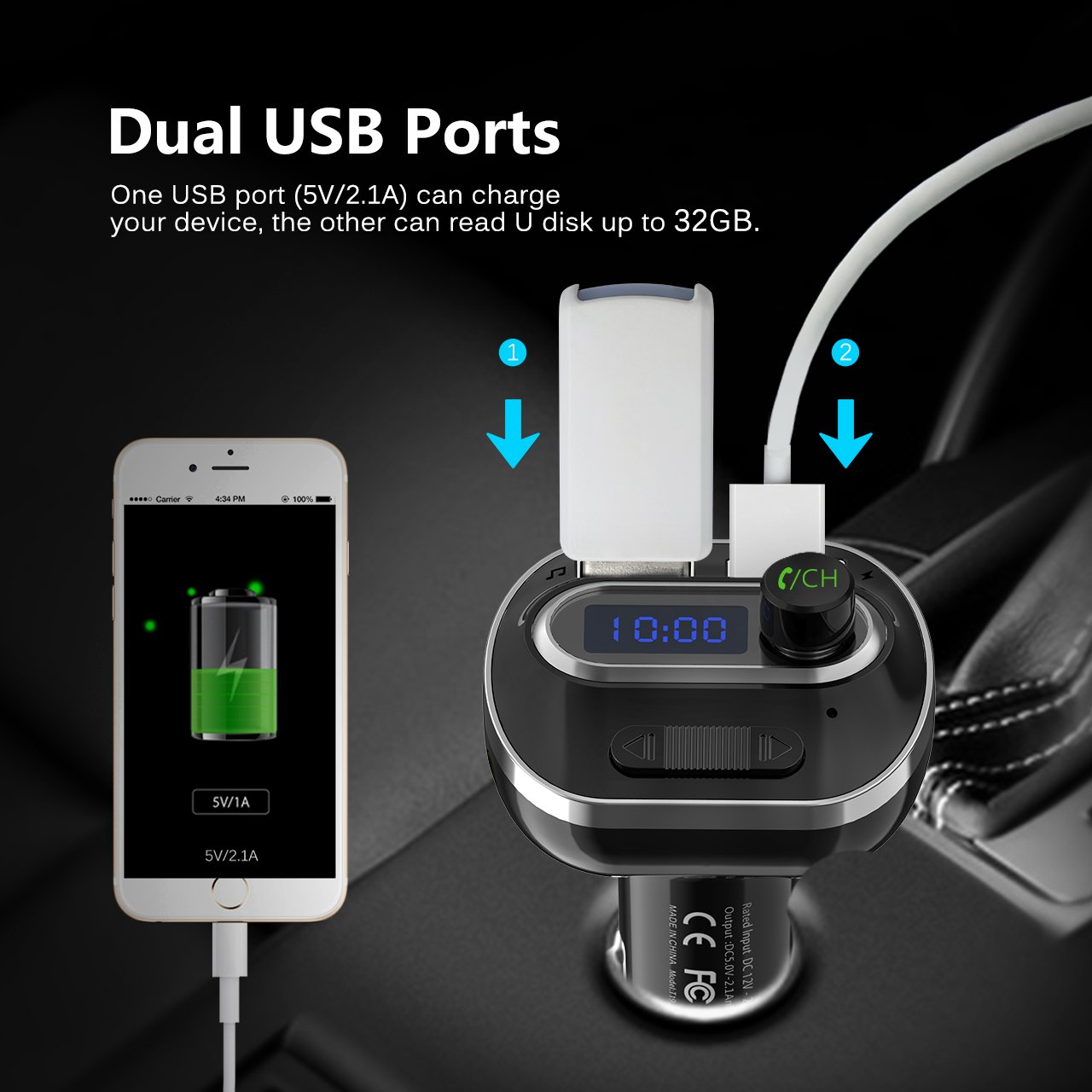 VicTsing (Upgraded Version) V4.1 Bluetooth FM Transmitter for Car, Wireless Radio Transmitter Adapter with Music Player Support Aux Output Input, TF Card and U-Disk, Hands Free and Dual USB Ports by VicTsing (Image #5)