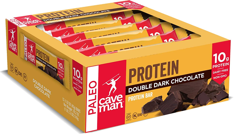 Caveman Foods Double Dark Chocolate Protein Bar, 1.4 Ounce Bars, 12 Count
