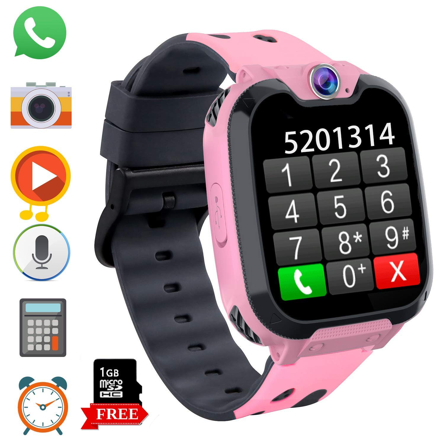 Game Kids Smart Watch Phone for Students, Boys Girls 1.54 inchesTouch Screen Smartwatch with MP3 Player Games Camera Alarm Clock Stopwatch for ...