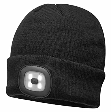 PORTWEST BEANIE LED HEAD LIGHT CAP HAT USB RECHARGEABLE BLACK OR YELLOW B029 OS