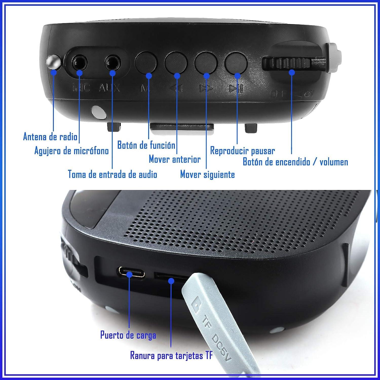 Siebwin Amplificador de Voz, Amplificador de Voz Para Profesores 10 W 2000 mAh Tamaño Pequeño, Amplificador de Voz Portatil con Cable con micrófono ...