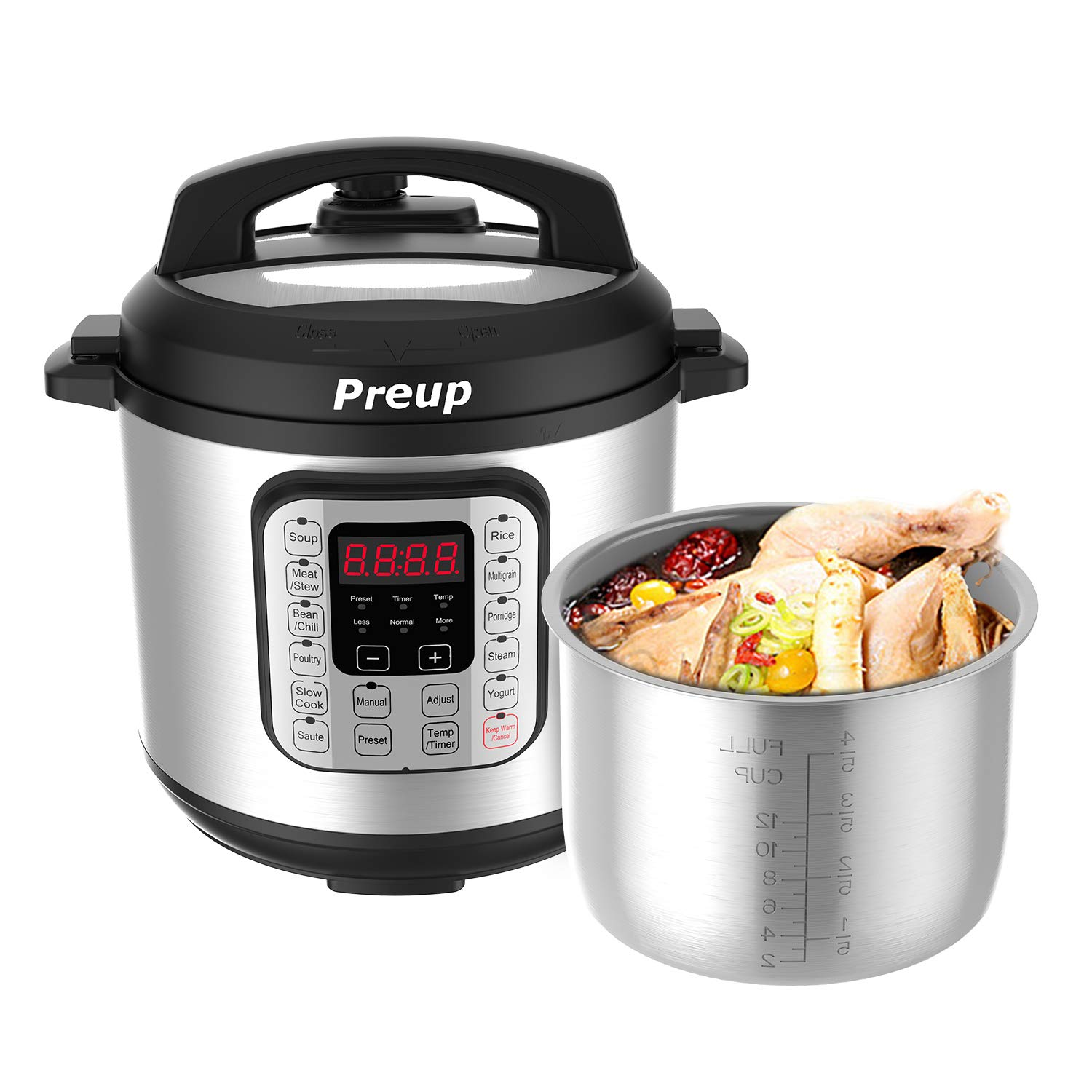 PREUP Electric Pressure Cooker, 6 Quart 7-in-1 Multi-Use Programmable Slow Cooker, Rice Cooker, Steamer, Sauté, Yogurt Maker, Hot Pot and Warmer, Stainless Steel