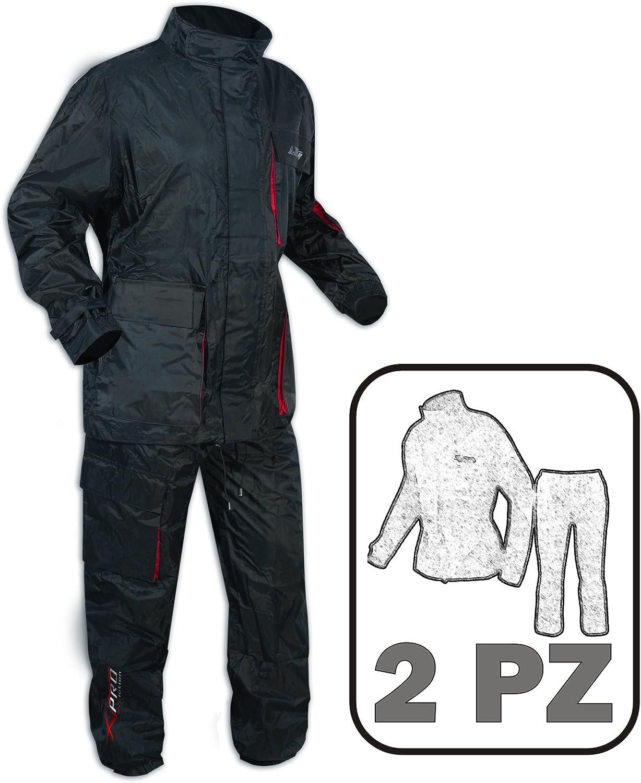 A-Pro Impermeabile COMPLETO 2 Pezzi Anti Pioggia Tuta Giacca Pantoloni Moto Scooter