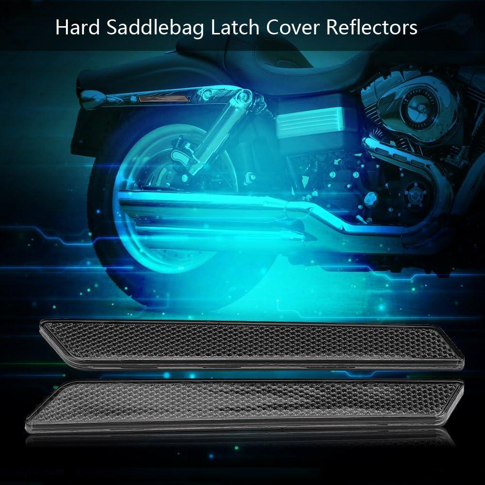 Qiilu Satteltaschen Latch Cover Reflektoren Für Harley Flht Flt Flhx 2014 2017 Rauchfarbe Auto