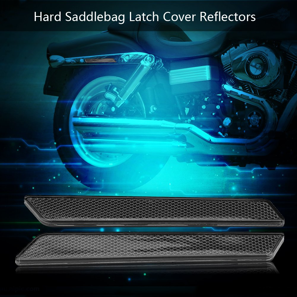 Latch Cover Smoke Pair of Hard Saddlebag Latch Cover Reflectors for FLHT FLT FLHX 2014-2017