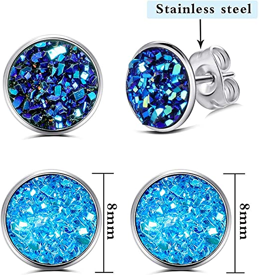 stainless steel choice of colours resin and glitter Round Stud earrings