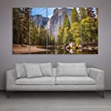 Inephos Multiple Frames Beautiful Mountains Wall Painting (150cm X 76cm)