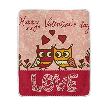 Amazon Com Mofeiyue Cute Valentine S Day Owl Bird Throw Blanket
