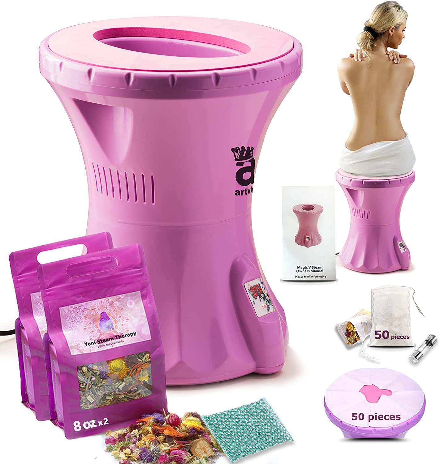 Yoni Steam Seat Upgraded, VSteamSeatKit with Herbs 16oz (30+Steams) Natural, Vaginal Steamer Chair Consistent Steaming, Portable Spa for Vaginal Cleansing, Tightening, Fertility and Postpartum Care