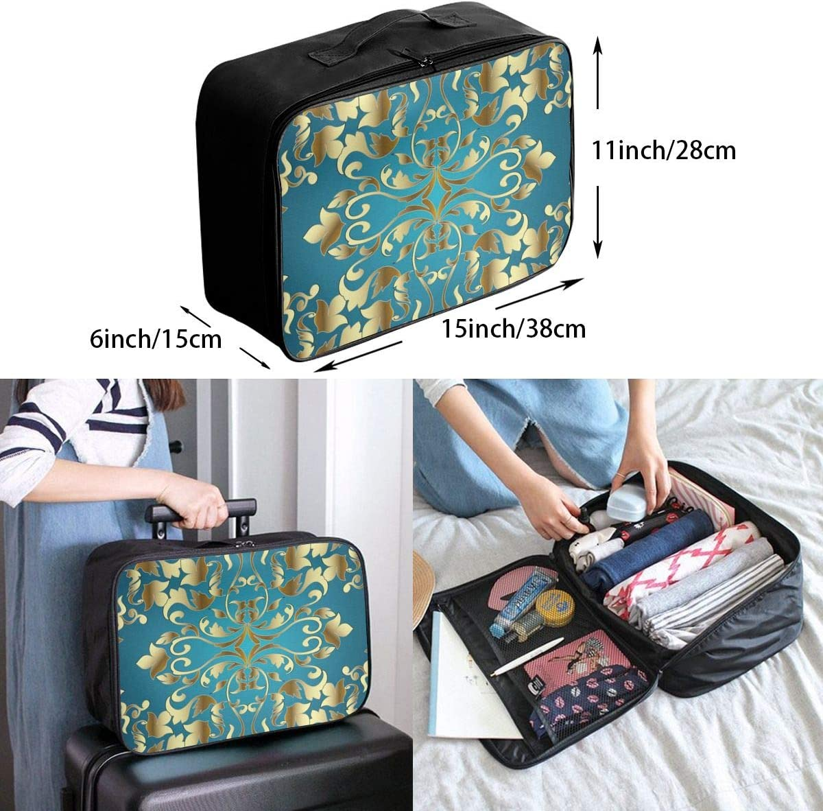 Yunshm Rolling Swirl Leaves Royal Baroque Decorative Texture Personalized Trolley Handbag Waterproof Unisex Large Capacity For Business Travel Storage