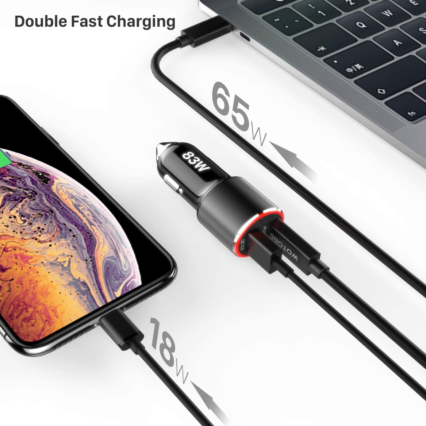 83W USB C Car Charger,WOTOBEUS Dual Type C Fast Car Phone Laptop Charger Adapter PD PPS 65W 45W 25W QC3.0 18W AFC with 5A USB C to C Cable/Cord/for iPhone SE 11//iPad//MacBook Pro//ThinkPad//S20//Note10