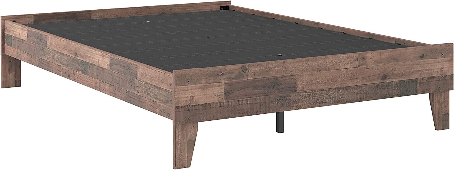 Signature Design by Ashley Neilsville Butcher Block Style Platform Bed, Full, Rustic Gray