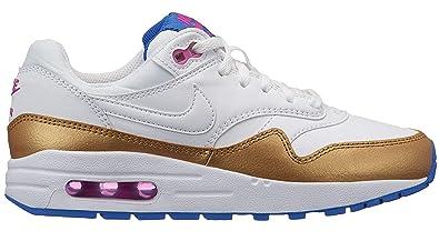NIKE Air Max 1 Big Kids' Shoes WhiteMetallic Gold 807605