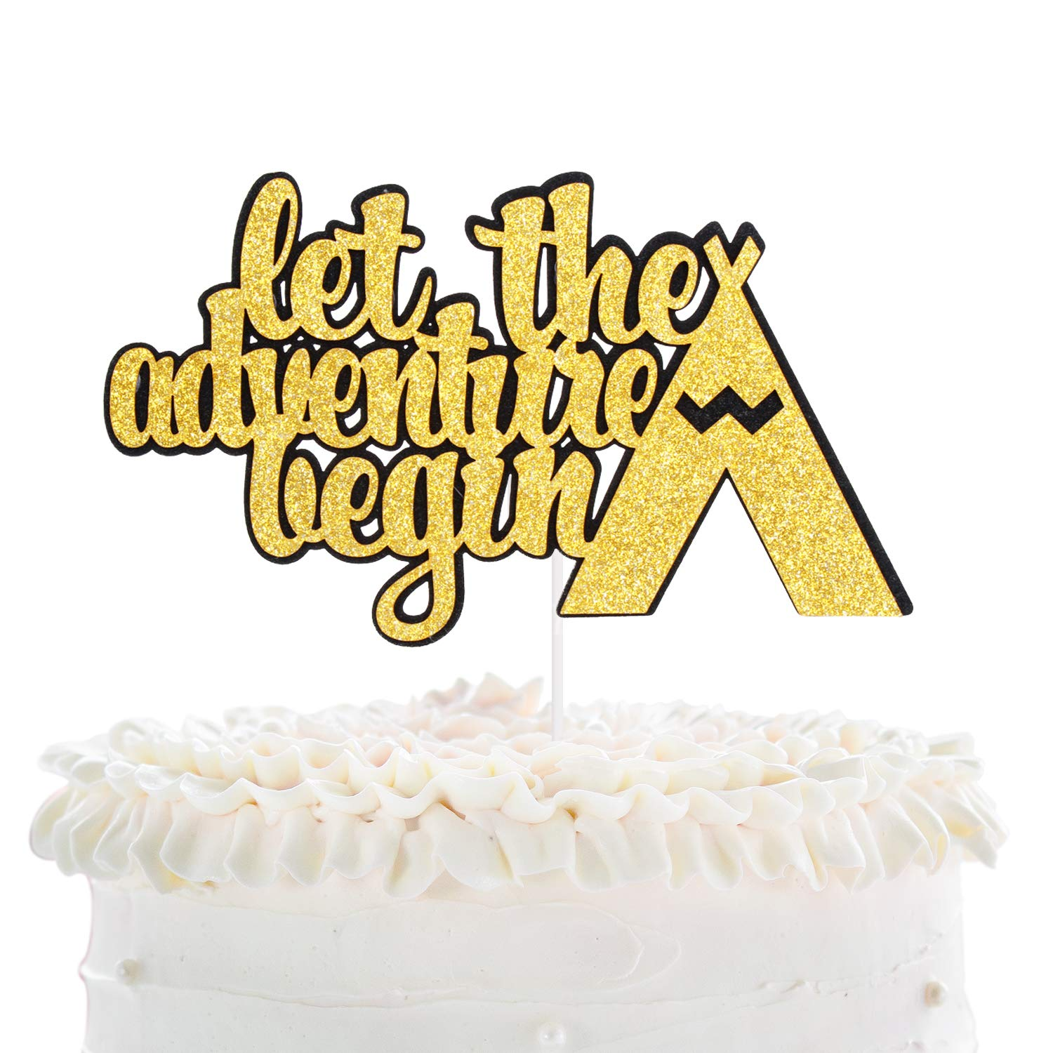 Personalized Adventure Awaits Graduation Party Glitter Cake Topper Decoration
