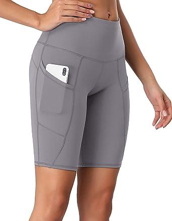 Oalka Womens Short Yoga Side Pockets High Waist Workout Running Sports Shorts 4
