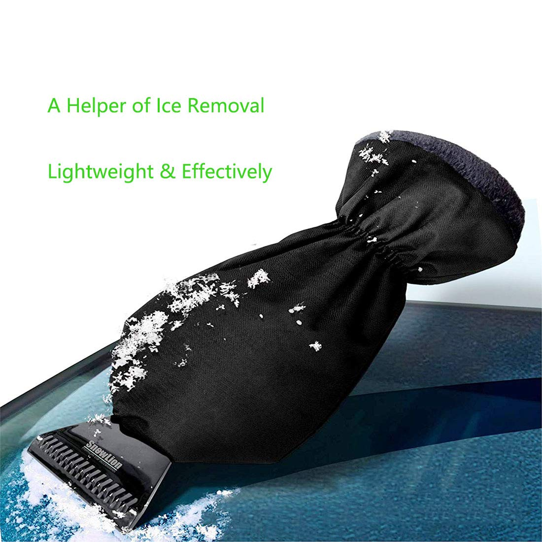 Effectively Warm Lined Lightweight Snow Shovel Defrost Scrapers with Waterproof Glove AMOUTOR 2 Pack Ice Scraper Mitts Black