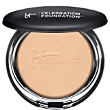 IT Cosmetics Celebration Foundation, Medium Tan (W) - Full-Coverage, Anti-Aging Powder Foundation - Blurs Pores, Wrinkles & I
