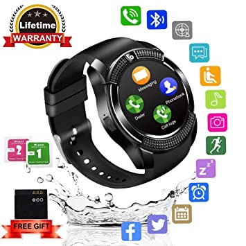 Smartwatch,Impermeable Reloj Inteligente Redondo con Sim Tarjeta Camara Whatsapp,BluetoothTactil Telefono Smart Watch Smartwatches para Android iOS iPhone ...