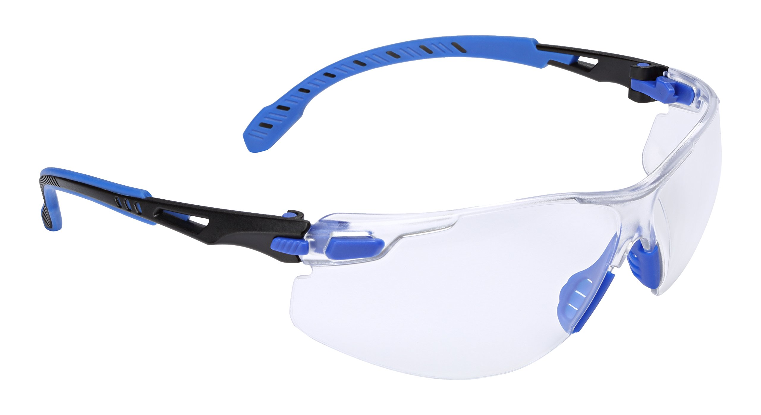 3M Safety Glasses, Solus 1000 Series, ANSI Z87, Scotchgard Anti-Fog Clear Lens, Low Profile Blue/Black Frame