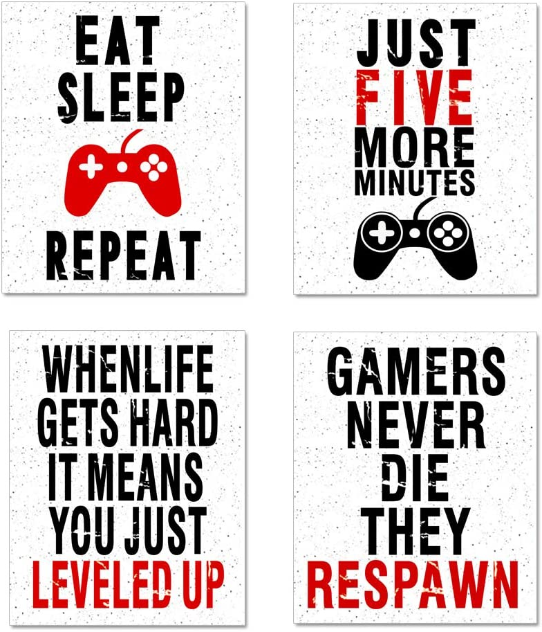 "GEEDUO Funny Game Posters Art Print Inspirational Words Quote&Saying, Colorful Posters for Boys Bedroom Decorations Unframed Set of 4 (8""X10"")"