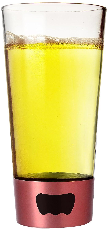 Asobu Pint Glass Beer Mug with Beer Opener Base, 16 oz, Red