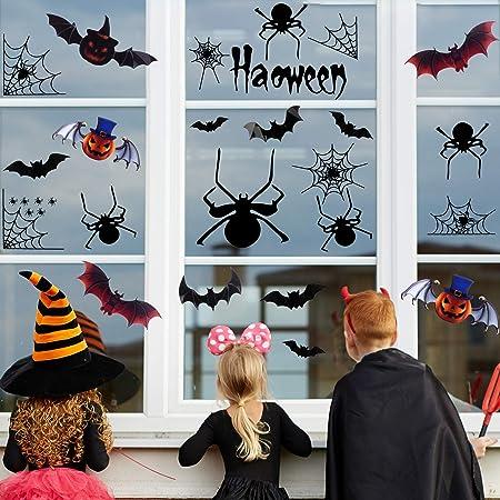 heekpek Halloween Chauve-Souris Autocollant Stickers Muraux 3D Fournitures de F/ête de Halloween pour D/écoration Murale et Fen/être de Maison