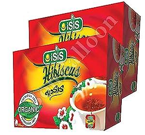 Isis Natural Hibiscus Flower Tea Bags Organic Natural Dried Roselle Egyptian Herbal Caffeine Free Healthy Egypt Aswani Aswan Chai Hybiscus Decaffeinated Exotic Hibscus Tea's Hibiscous كركديه (200 Bag)