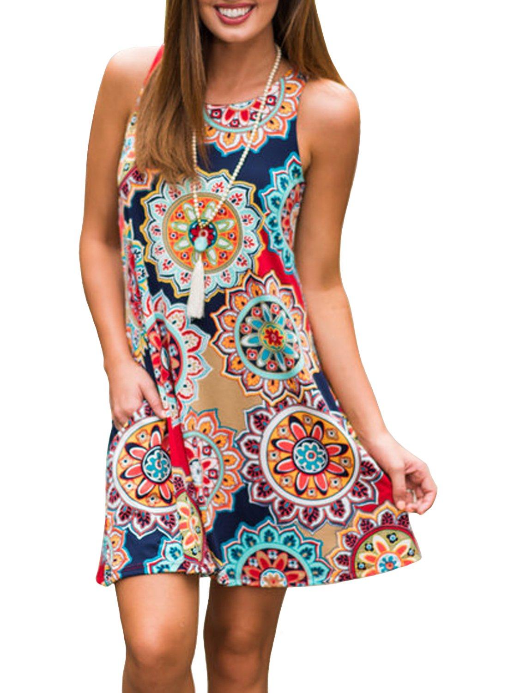 ZESICA Women's Summer Sleeveless Damask Print Pocket Loose T-shirt Dress, Geometric, Large