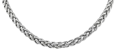 Veuer Joyas para Hombres Maciza Hombre Collar de Cadena Cadena de Acero Inoxidable en Plata 50 cm Longitud 5 mm Ancho Amigo/muñeco/Hombres